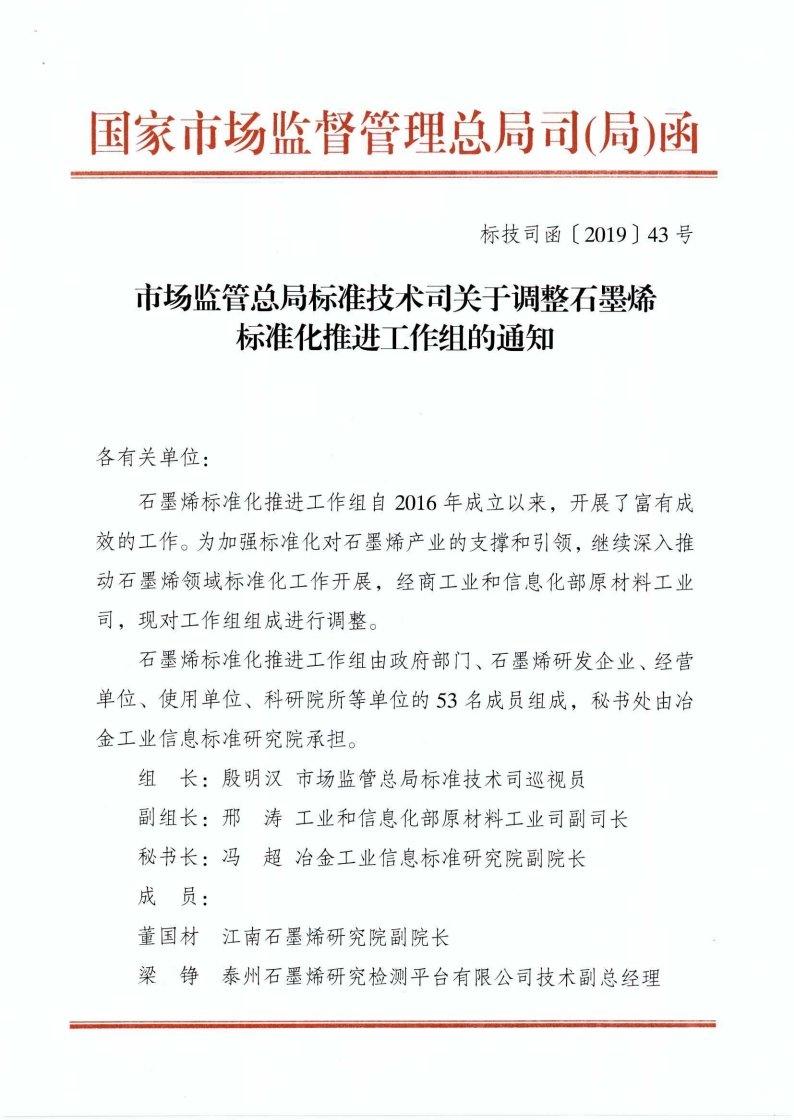 中国石墨烯标准化推进工作组最新调整!