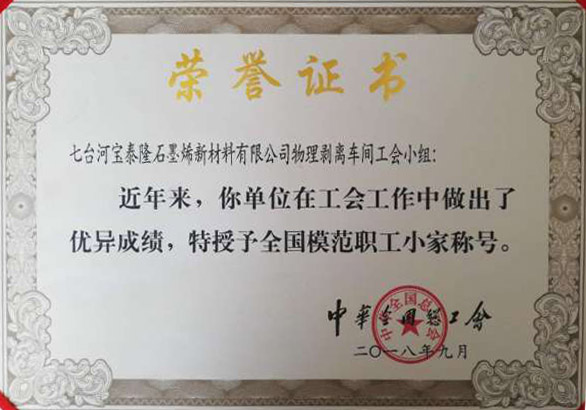 """石墨烯公司荣获中华总工会授予的""""全国劳动模范职工小家""""称号"""