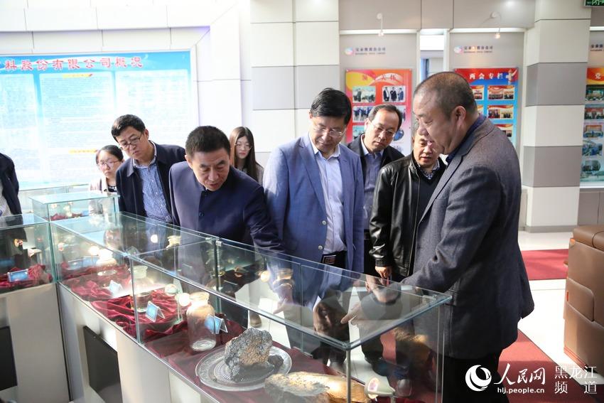 七台河市市长贾君与北京大学院士刘忠范调研宝泰隆煤化工循环经济产业链。