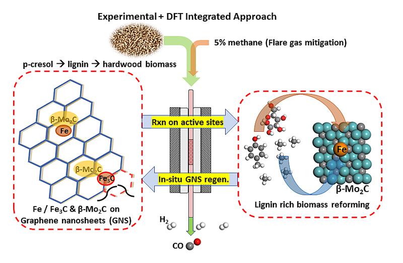 以石墨烯为载体的Fe/Ni, β‑Mo2C纳米催化剂经由生物质和甲烷共重整制取氢气-—实验和DFT模拟计算相结合